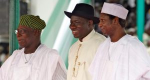 PDP Presidents all Obj right, Yar'Adua left and Jonathan in the middle