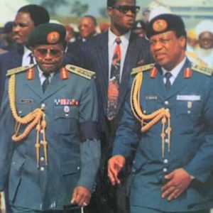 Gen Babangida & Gen Abacha, (in glasses) his successor