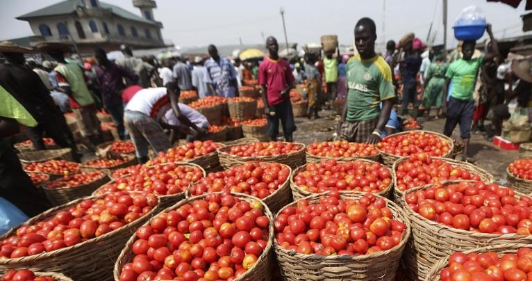 Tomatoes are displayed for sale at a food market in Lagos, Nigeria, on December 16, 2013. Large-scale importation of foodstuffs like tomato paste has contributed to a dip in Nigeria's economy. AKINTUNDE AKINLEYE/REUTERS