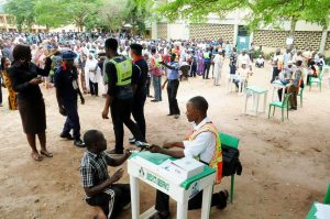 2015 election somewhere in Nigeria, complete with security agents, et all