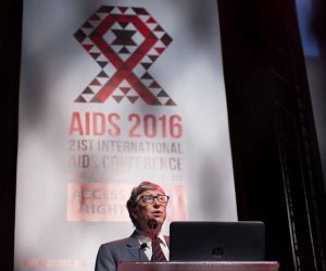 Philanthropist Bill Gates addresses delegates at the 2016 Aids Conference in Durban. Masimba Sasa