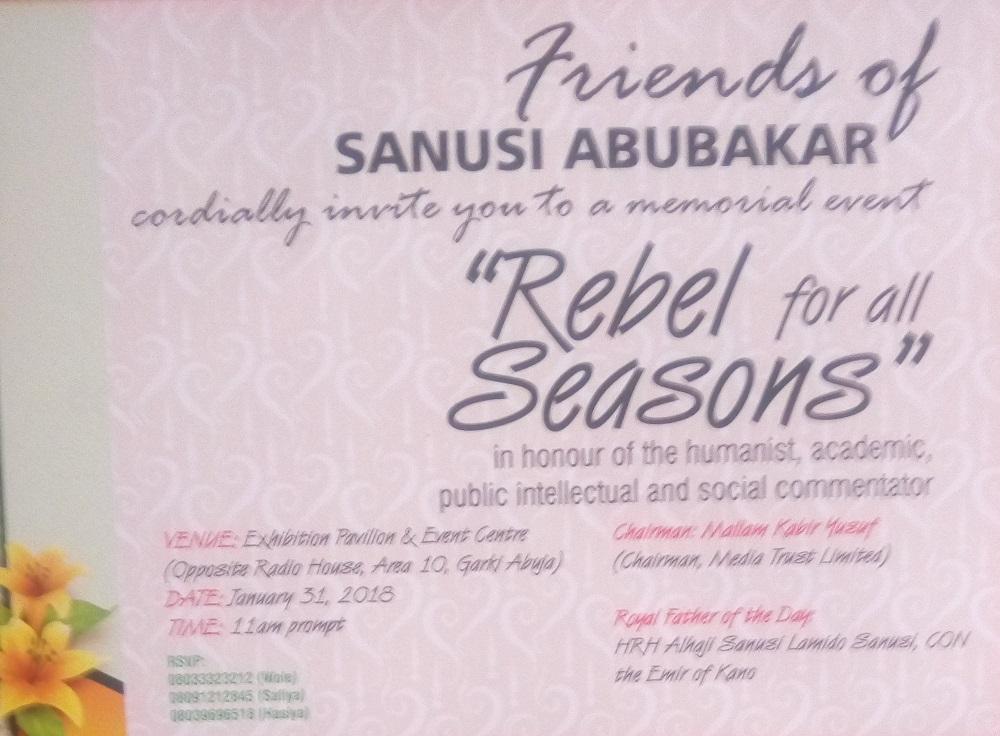 Activists Set Wednesday Aside for Dr Sanusi Abubakar: The 'Rebel for All Seasons'