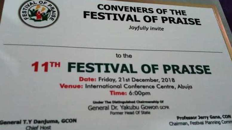 Gowon, TY Danjuma, Gana, Others for 11th Abuja Festival of Praise