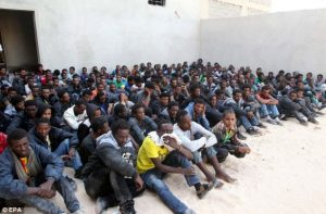 African migrants at a detention center in Libya
