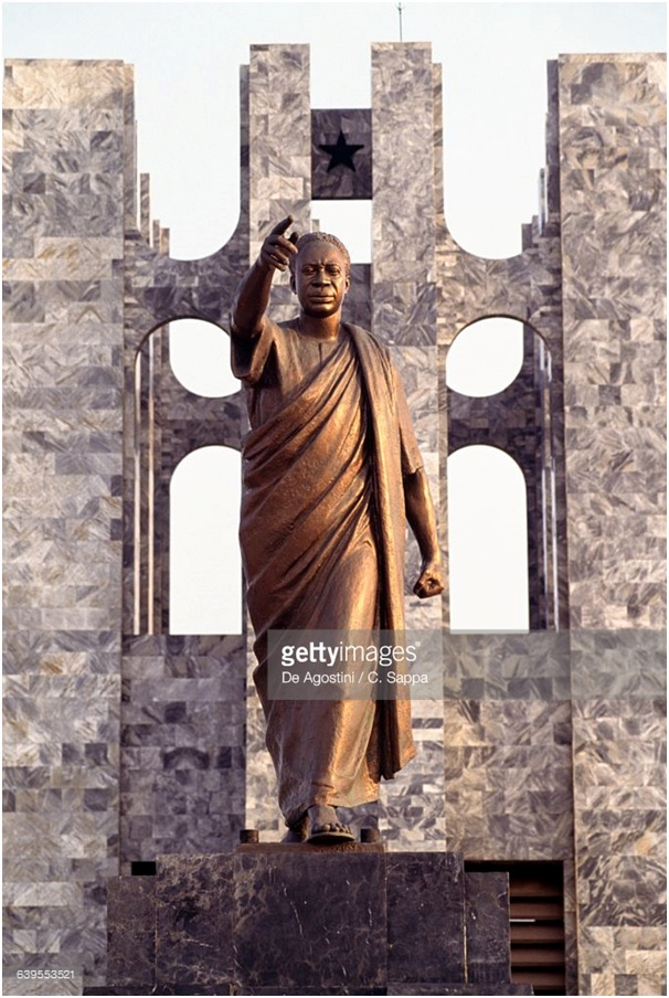 Forward Ever Kwame Nkrumah in a Getty image of his statue at the Kwame Nkrumah Mausoleum in Accra, Ghana