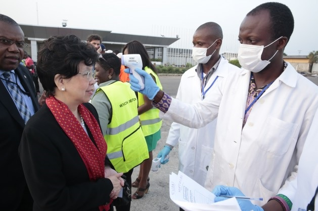 Margaret Chan (left), Director-General of the World Health Organization visiting Sierra Leone during the Ebola crisis in December 2014.