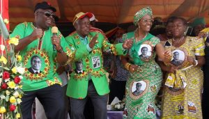 Grace Mugabe (3rd from left) in a political dance with ZANU-PF leaders