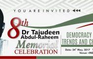 8TH Tajudeen Abdul-Raheem Memorial Next Week
