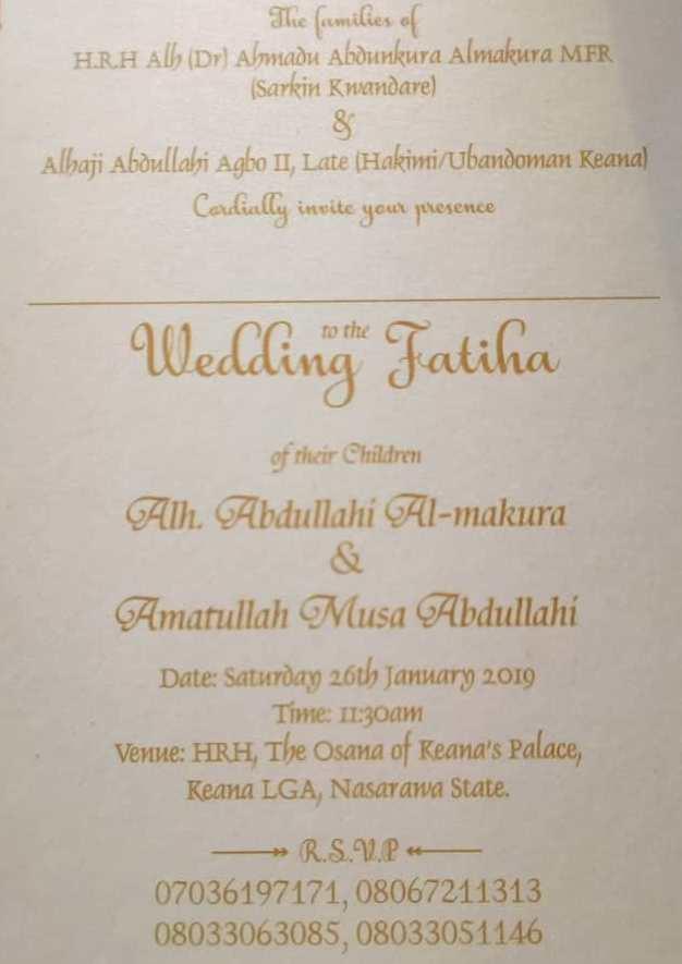 January 26th, 2019 is Abdullahi Al-Makura and Amatullah Musa Abdullahi's Wedding Day