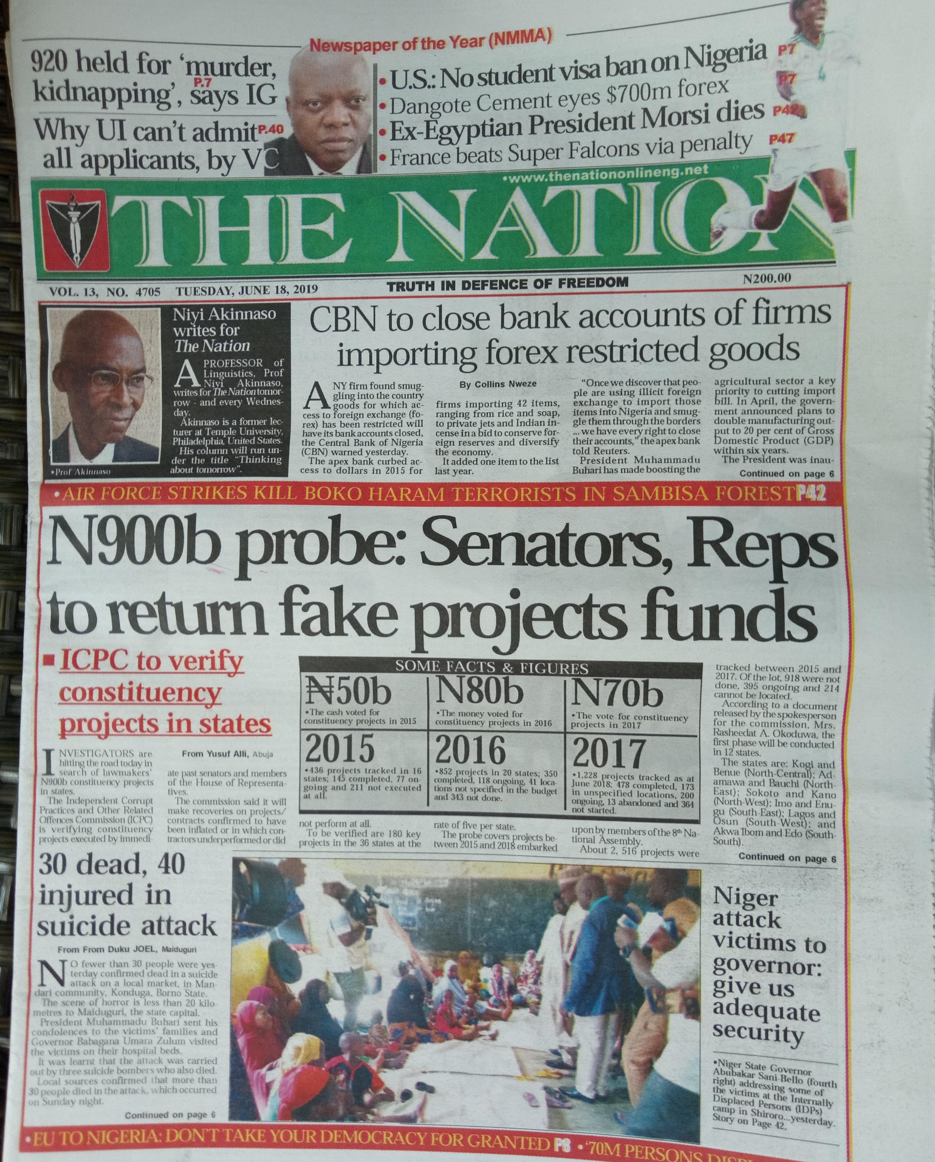 June 2019 Diary of Nigeria's Corruption Conundrum