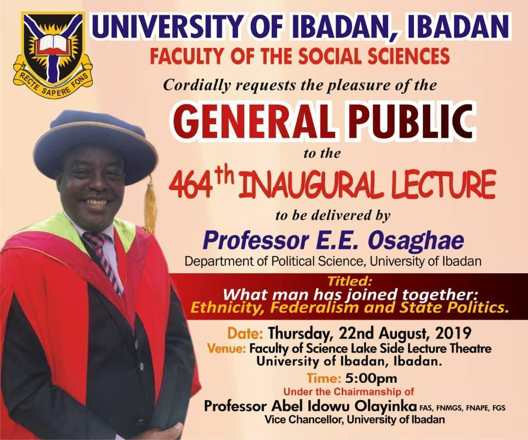 Prof Eghosa Osaghae Delivers 464th Inaugural Lecture at UI