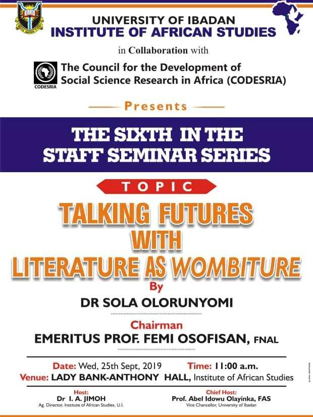 Awaiting Prof Sola Olorunyomi's Wombiture