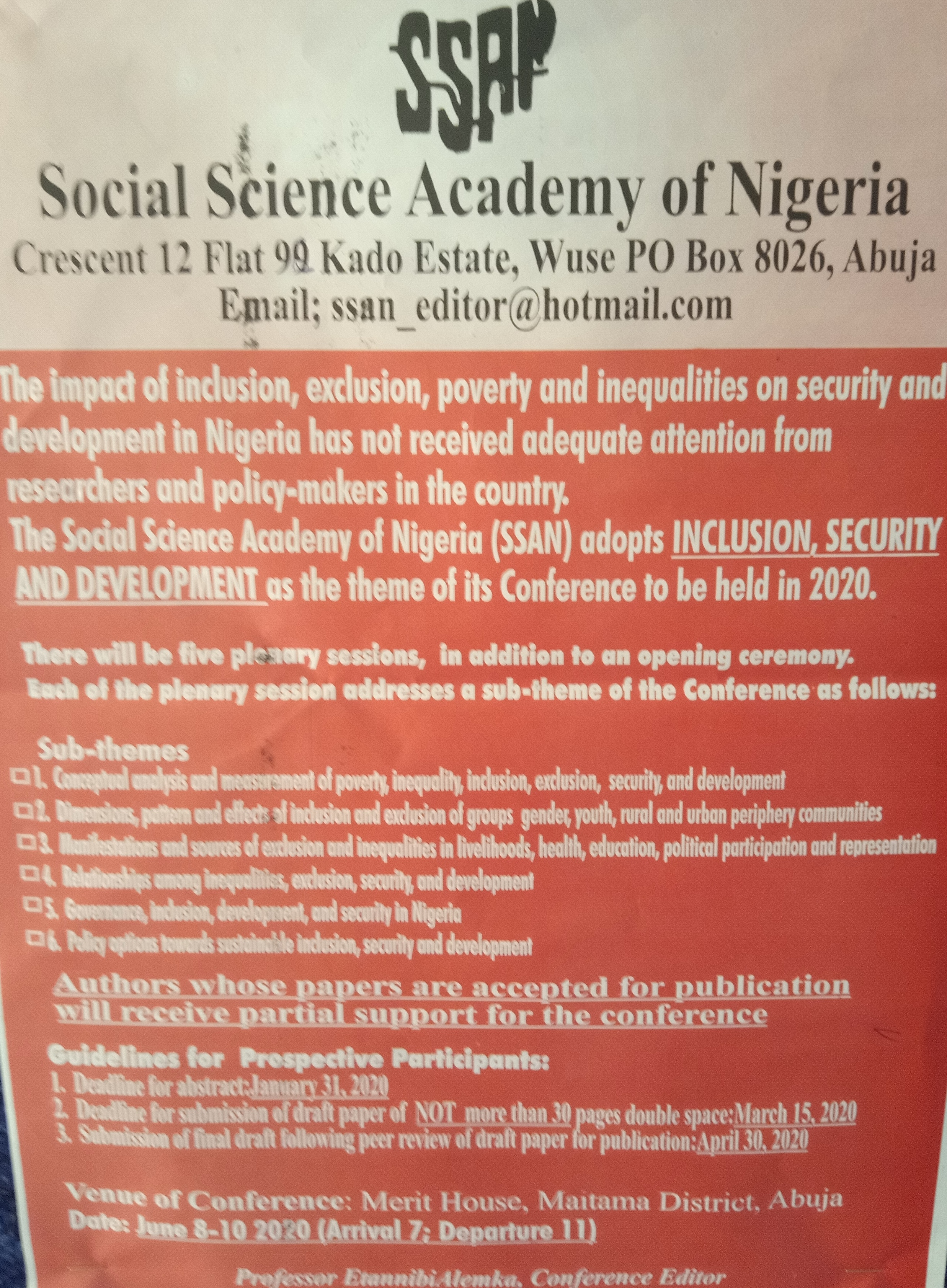 Social Science Academy of Nigeria Plans Conference on Inclusion, Security and Development