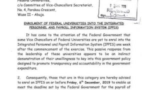 FG Gives Vice-Chancellors a Friday Deadline on IPPIS