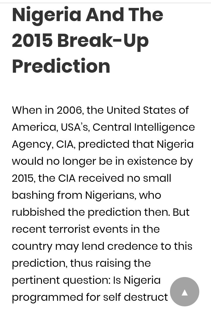 Nigeria Turns Against the Break-up Mentality @ Last?