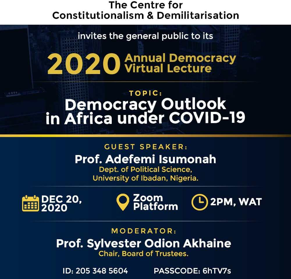 CENCOD Holds Webinar on Democracy Outlook in Africa Under Covid-19