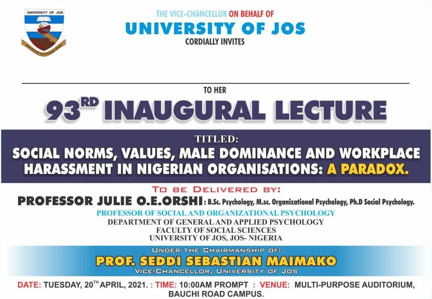 UNIJOS Makes Its Way In With an Inaugural Lecture